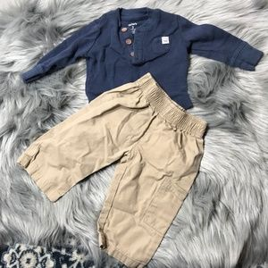 Carter's 3M blue thermal & khakis outfit